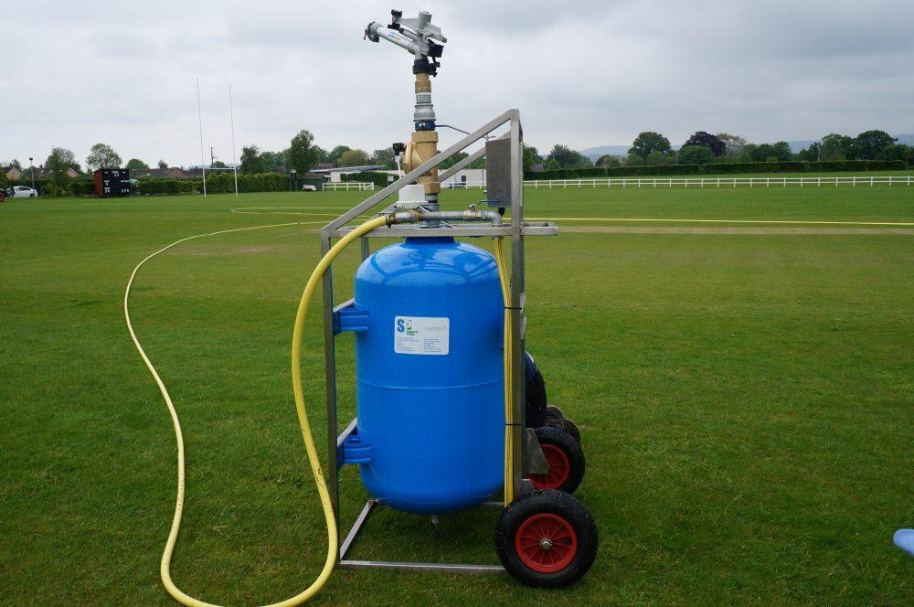Long Reach irrigation pump in a sports field