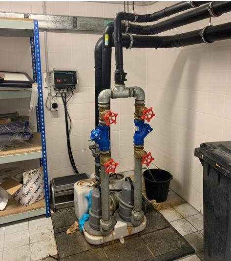 leaking wastewater pump